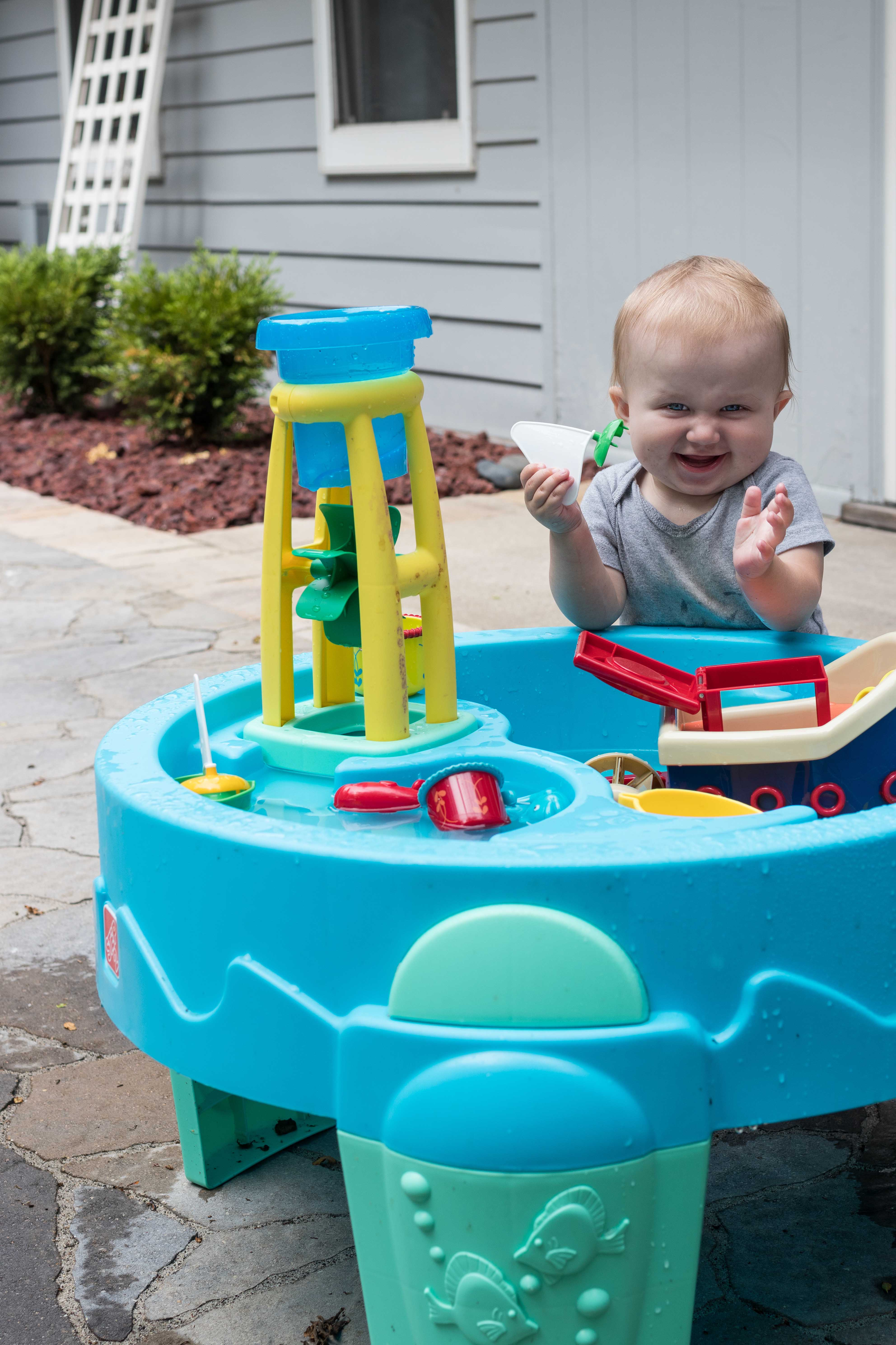 Tommy at the Water Table July 2018 | https://www.roseclearfield.com