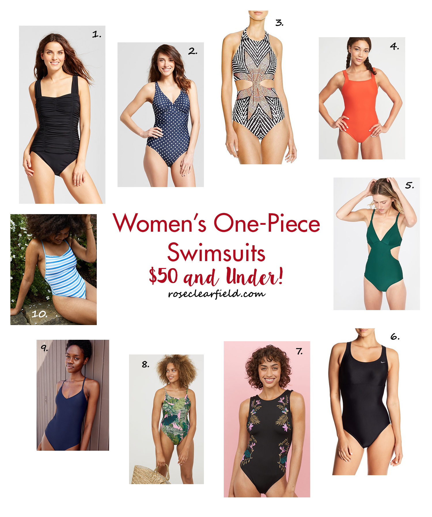 Women's One-Piece Swimsuits - $50 and Under! | https://www.roseclearfield.com