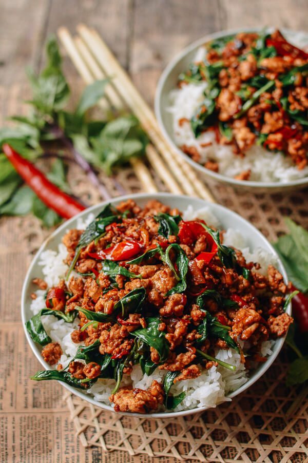 Back to School Healthy Lunches for Adults - 10 Minute Thai Basil Chicken Easy Gai Pad Krapow via The Woks of Life | https://www.roseclearfield.com