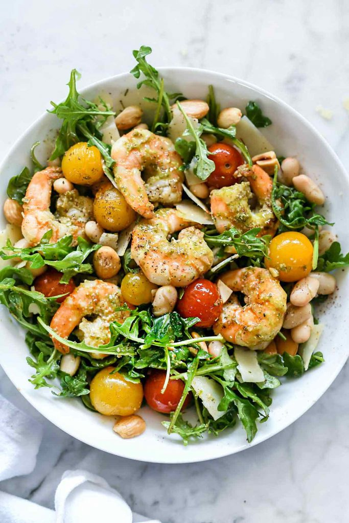 Back to School Healthy Lunches for Adults - Arugula Salsad with Pesto Shrimp Parmesan and White Beans via Foodiecrush | https://www.roseclearfield.com