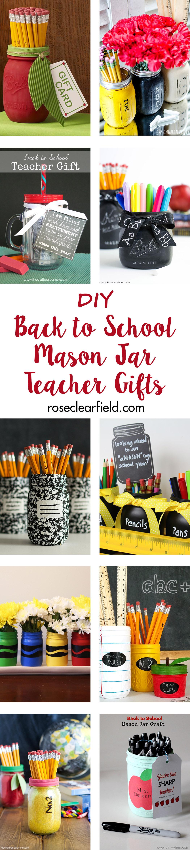 DIY Back to School Mason Jar Teacher Gifts | https://www.roseclearfield.com