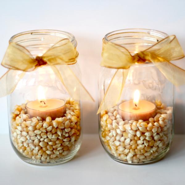 DIY Fall Mason Jar Decor - Fall Mason Jar Popcorn Kernal Luminary via The Frugal Girls | https://www.roseclearfield.com