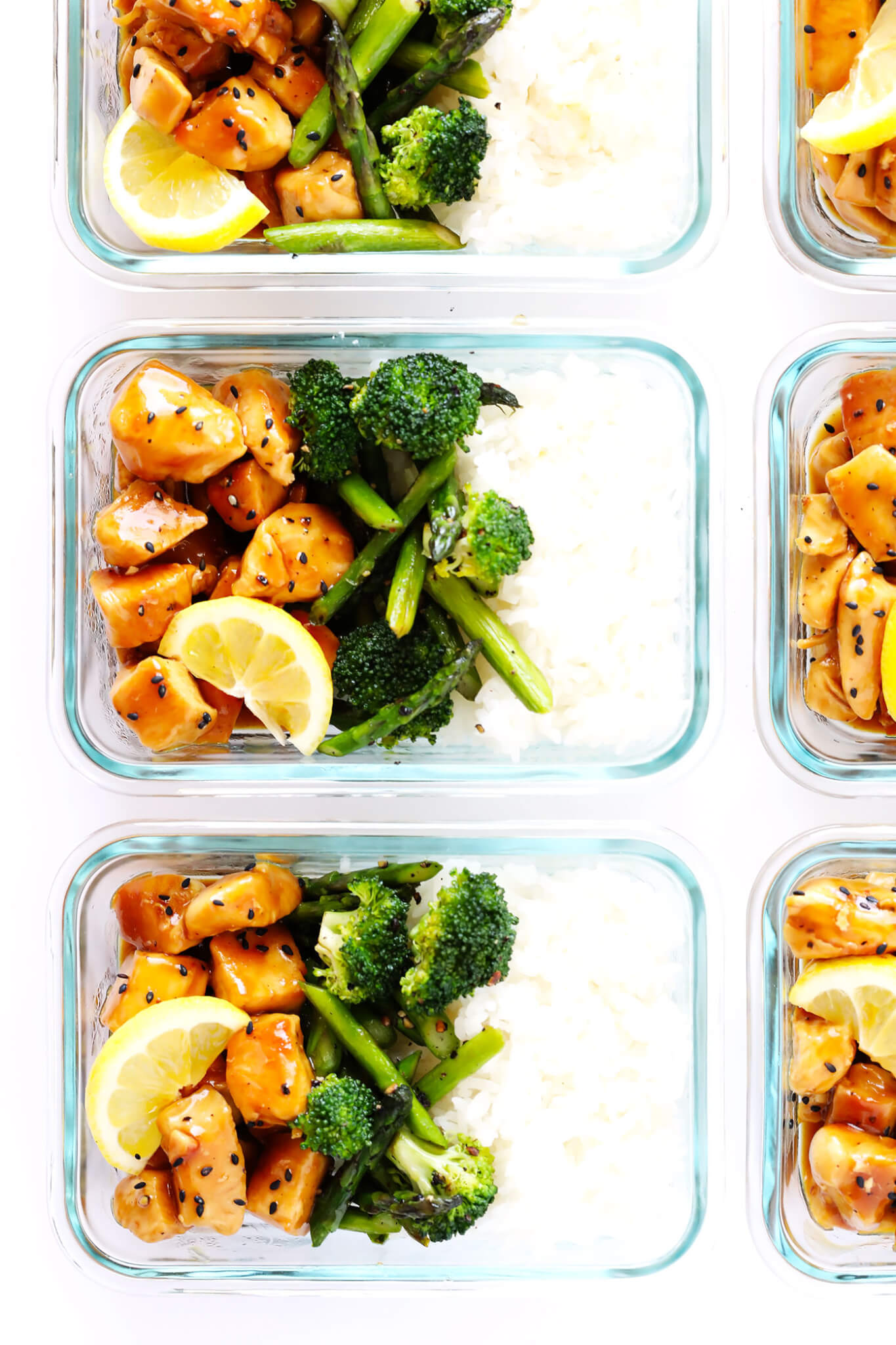 Back to School Healthy Lunches for Adults - Honey Lemon Chicken Bowls via Gimme Some Oven   https://www.roseclearfield.com