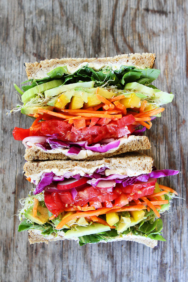 Back to School Healthy Lunches for Adults - Rainbow Vegetable Sandwich via Two Peas and Their Pod | https://www.roseclearfield.com