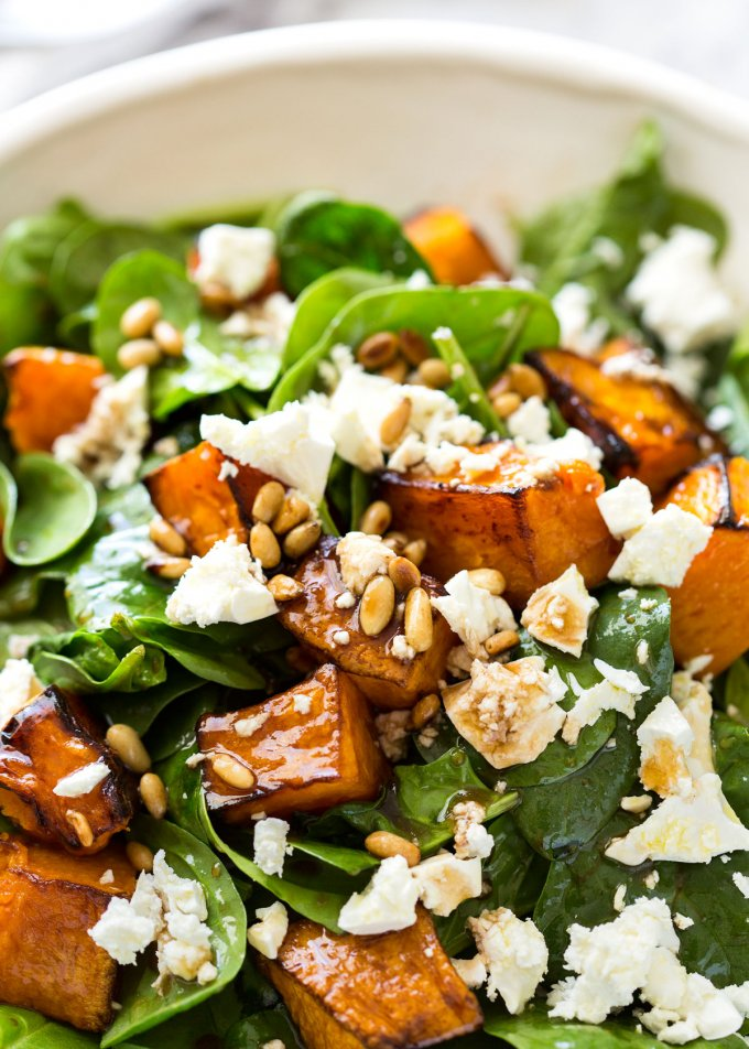 Back to School Healthy Lunches for Adults - Roasted Pumpkin Spinach and Feta Salad via Recipe Tin Eats | https://www.roseclearfield.com