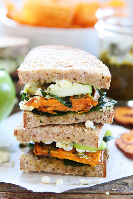 Back to School Lunches for Adults - Roasted Sweet Potato Sandwich with Apples, Pesto, Kale, and Blue Cheese via Two Peas and Their Pod | https://www.roseclearfield.com