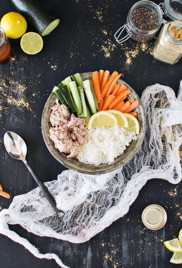 Back to School Healthy Lunches for Adults - Tuna Cucumber Rice Bowl with Coconut Lime Soy Sauce via The Butter Half | https://www.roseclearfield.com