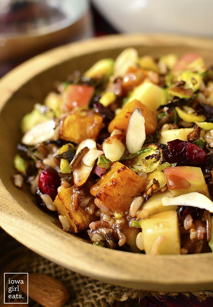 Back to School Healthy Lunches for Adults - Wild Rice Harvest Bowls with Fig Balsamic Vinaigrette via iowagirleats | https://www.roseclearfield.com