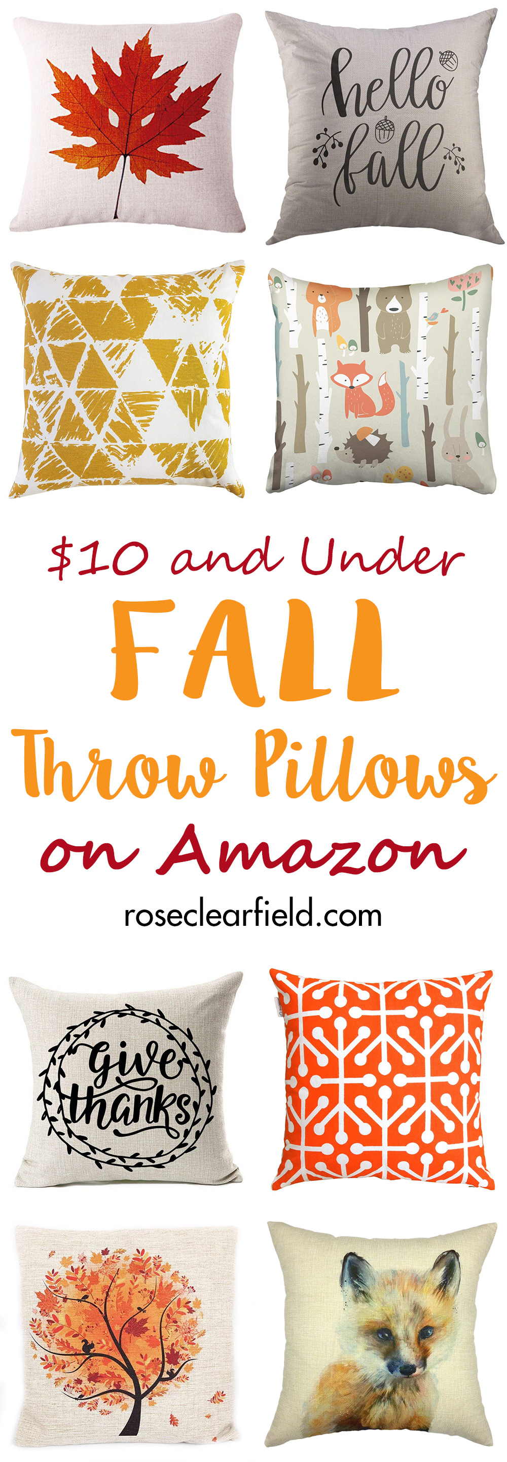 $10 and Under Fall Throw Pillows on Amazon   https://www.roseclearfield.com