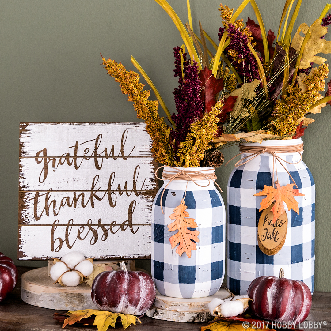 DIY Fall Mason Jar Decor - Buffalo Check Mason Jars with Fall Accents via Hobby Lobby | https://www.roseclearfield.com