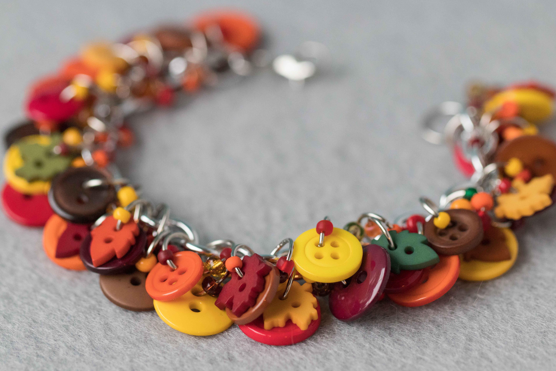 Button Charm Bracelet Autumn Leaves by randomcreative on Etsy | https://www.roseclearfield.com