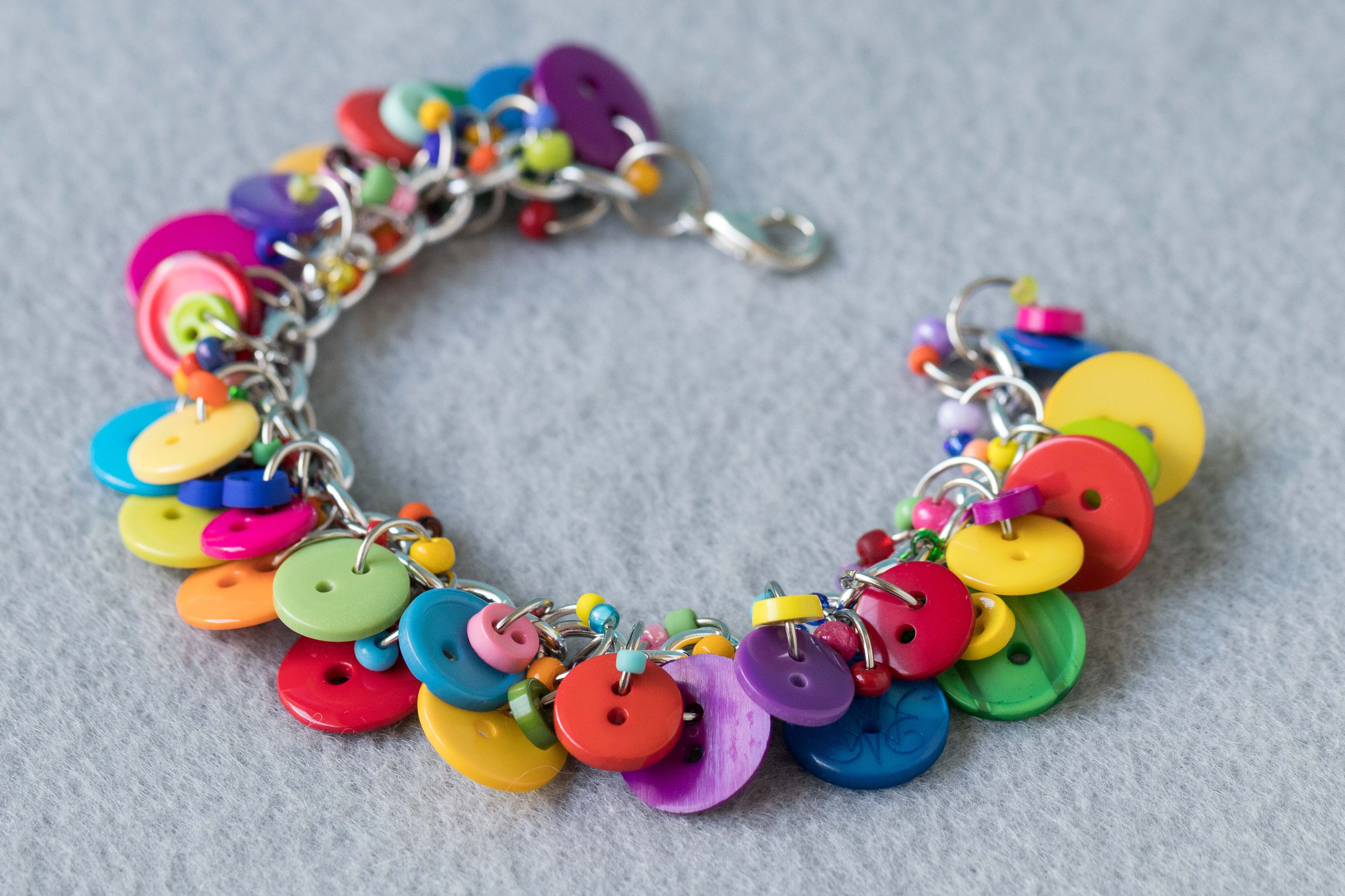 Button Charm Bracelet Bright Colorful Jewelry Fun Multicolored Rainbow Piece by randomcreative on Etsy | https://www.roseclearfield.com