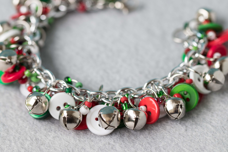 Button Charm Bracelet Silver Bells Christmas Jewelry by randomcreative on Etsy | https://www.roseclearfield.com