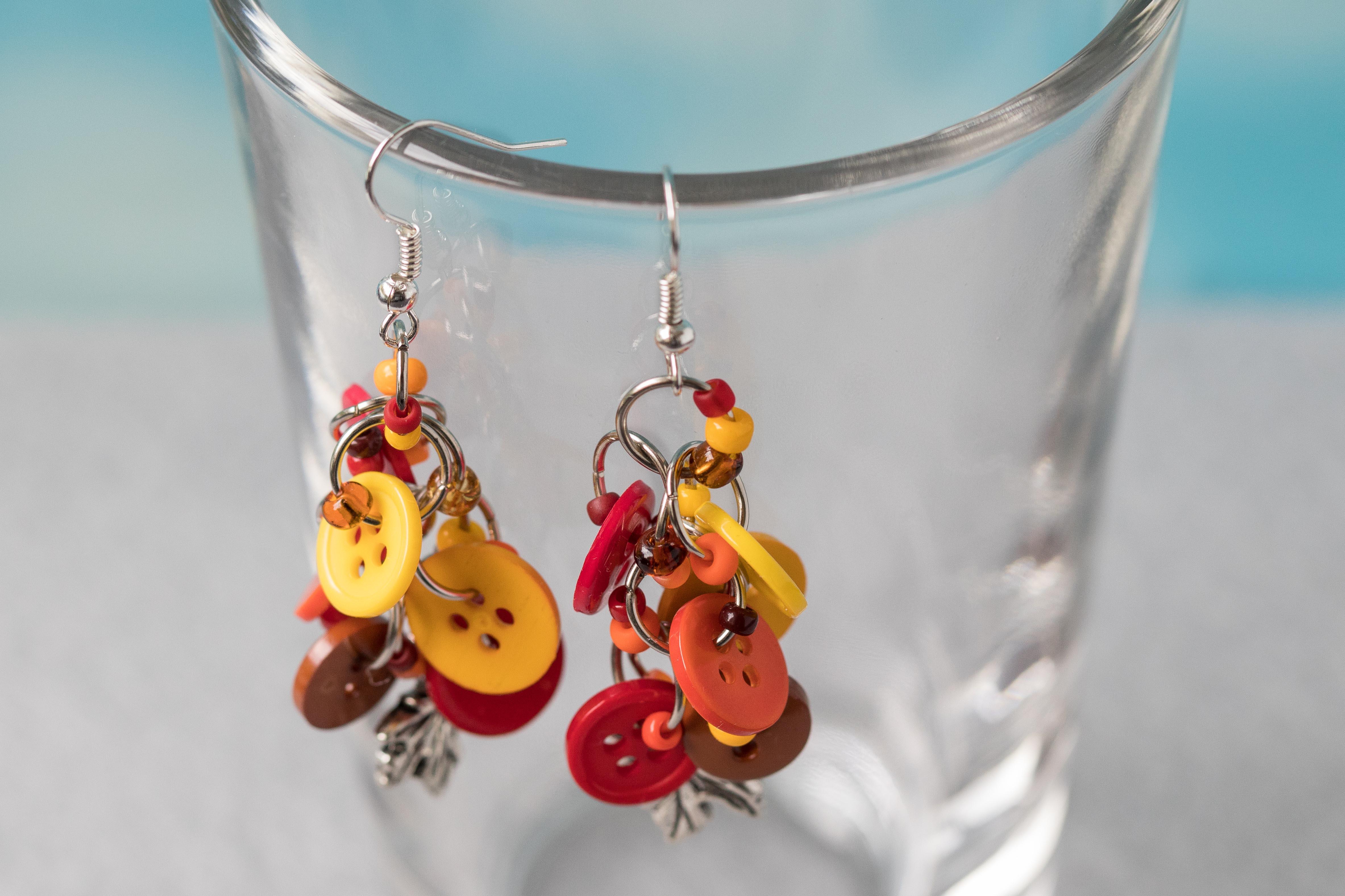 Button Dangle Earrings Autumn Silver Leaves by randomcreative on Etsy | https://www.roseclearfield.com
