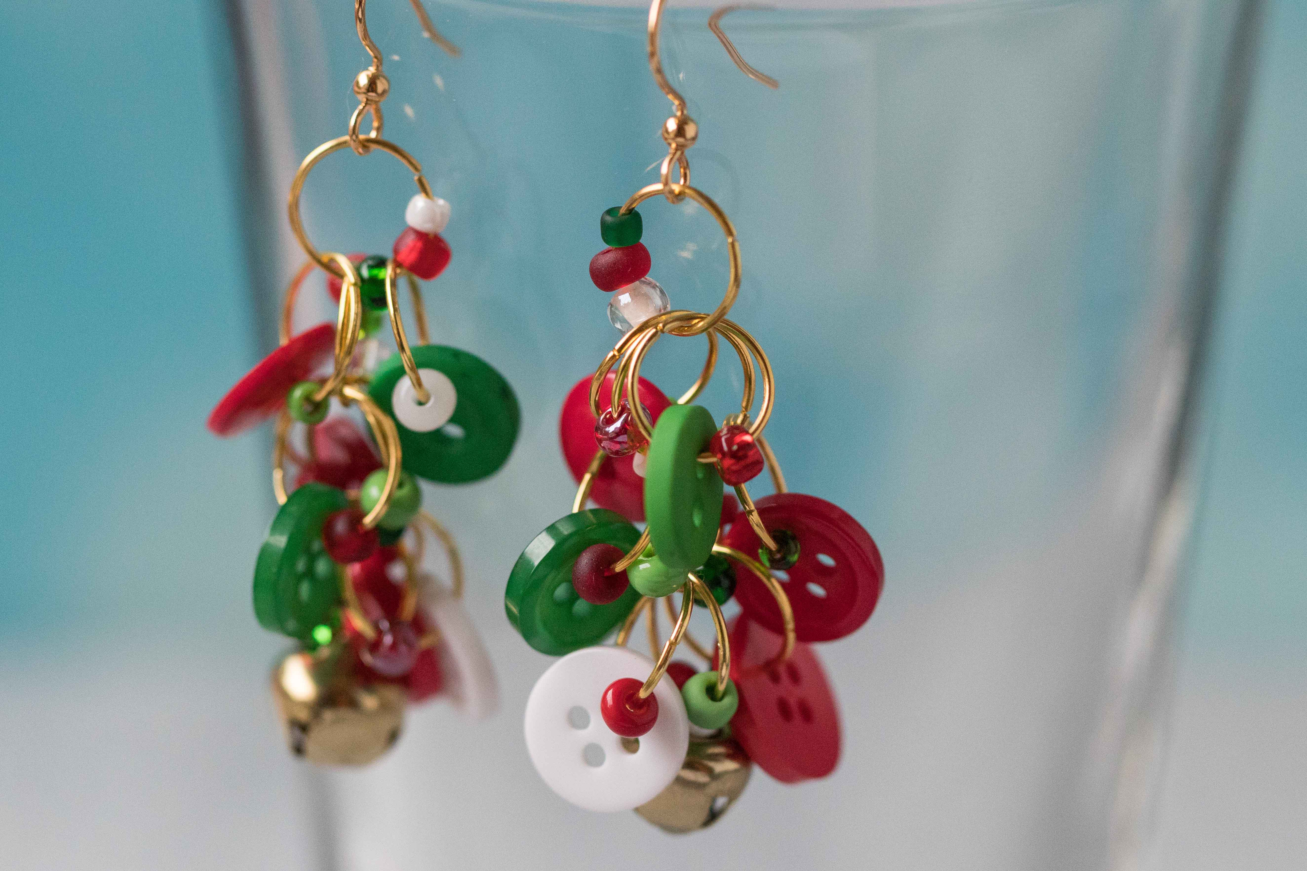 Button Dangle Earrings Christmas Gold Bells by randomcreative on Etsy | https://www.roseclearfield.com