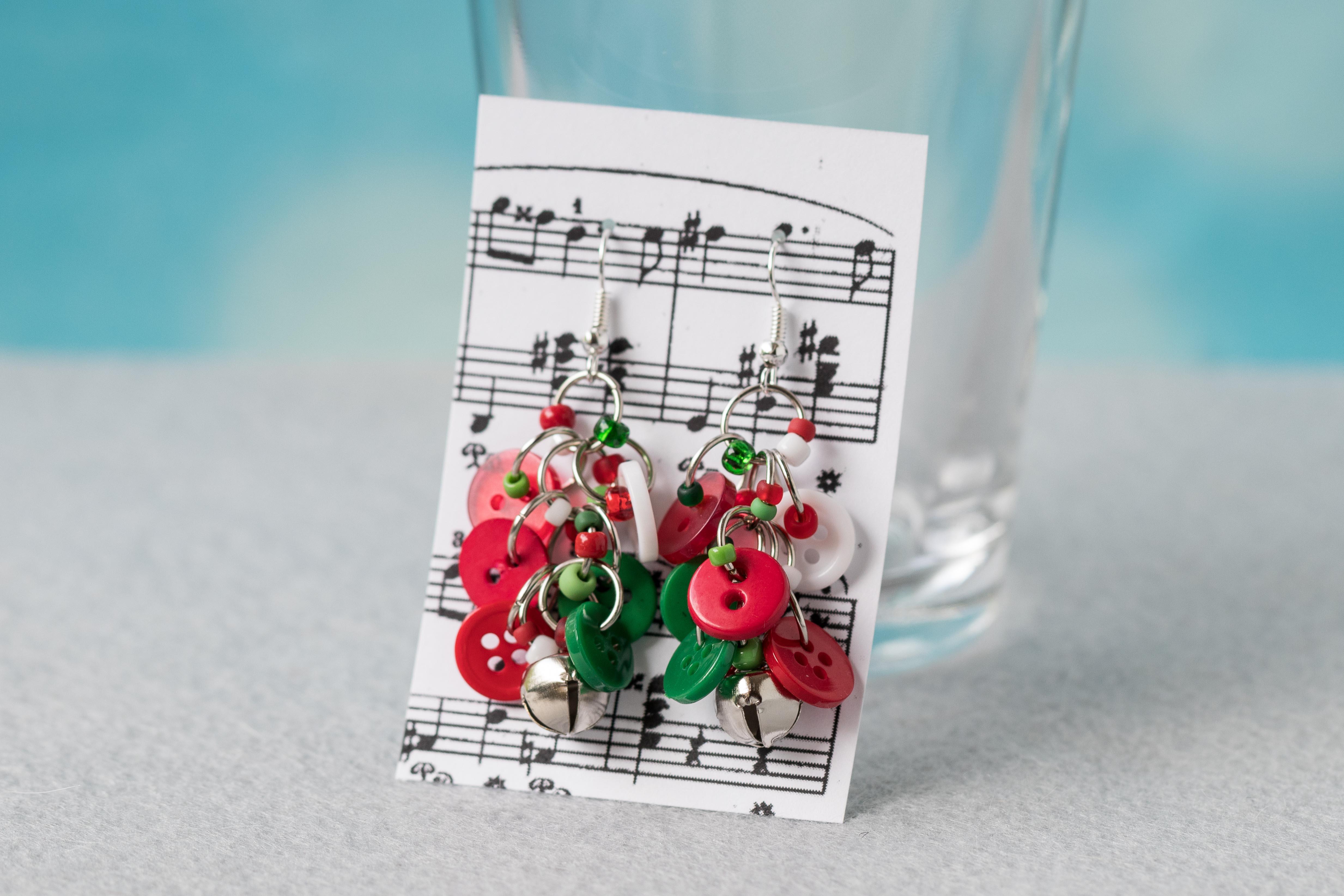 Button Dangle Earrings Christmas Silver Bells by randomcreative on Etsy | https://www.roseclearfield.com