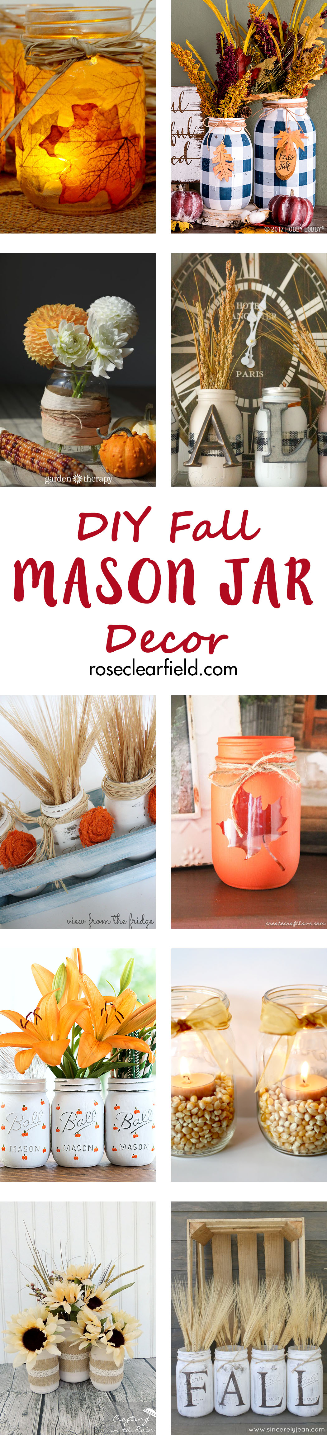 DIY Fall Mason Jar Decor | https://www.roseclearfield.com