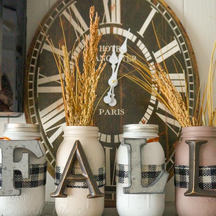 DIY Fall Mason Jar Decor - Fall Letters Mason Jars via Sarah Titus | https://www.roseclearfield.com