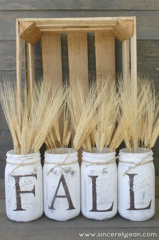 DIY Fall Mason Jar Decor - Rustic Fall Letter Mason Jars via Sincerely Jean | https://www.roseclearfield.com