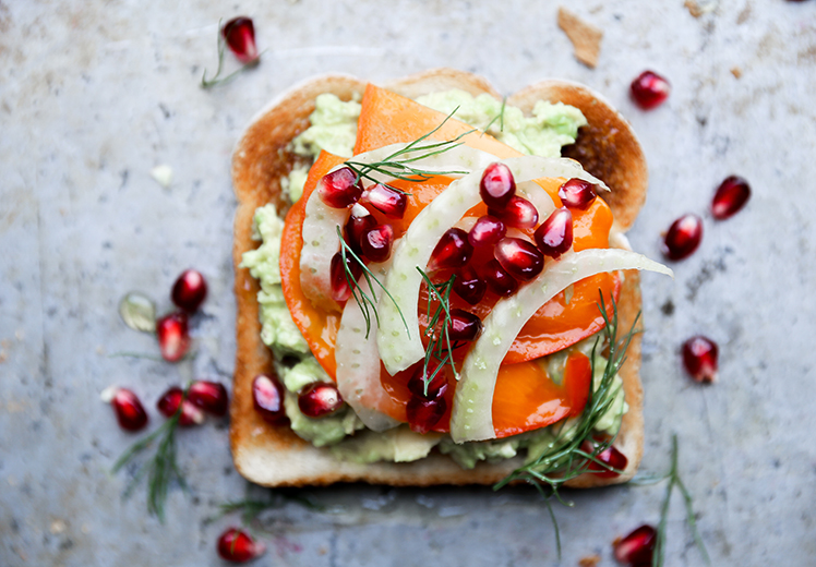 Fall and Winter Avocado Toast Recipes - Avocado Toast with Persimmon Pomegranate and Fennel via Floating Kitchen   https://www.roseclearfield.com