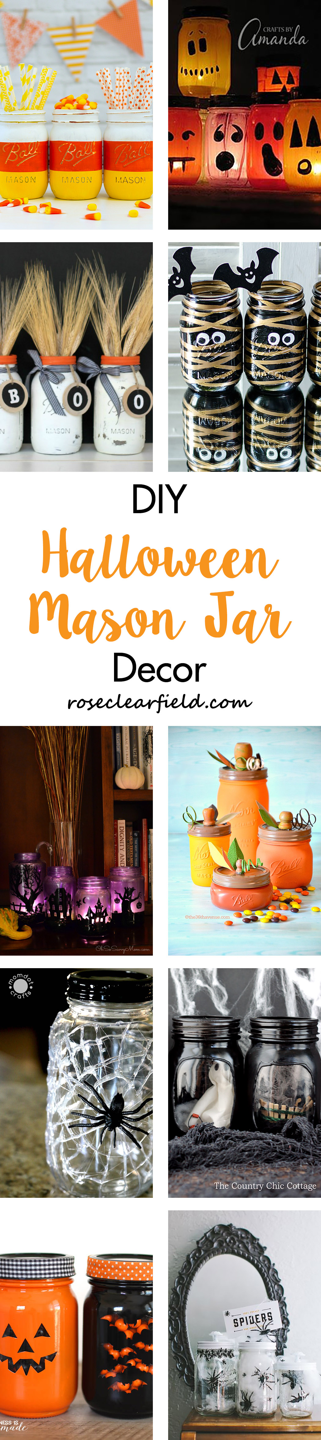 DIY Halloween Mason Jar Decor | https://www.roseclearfield.com