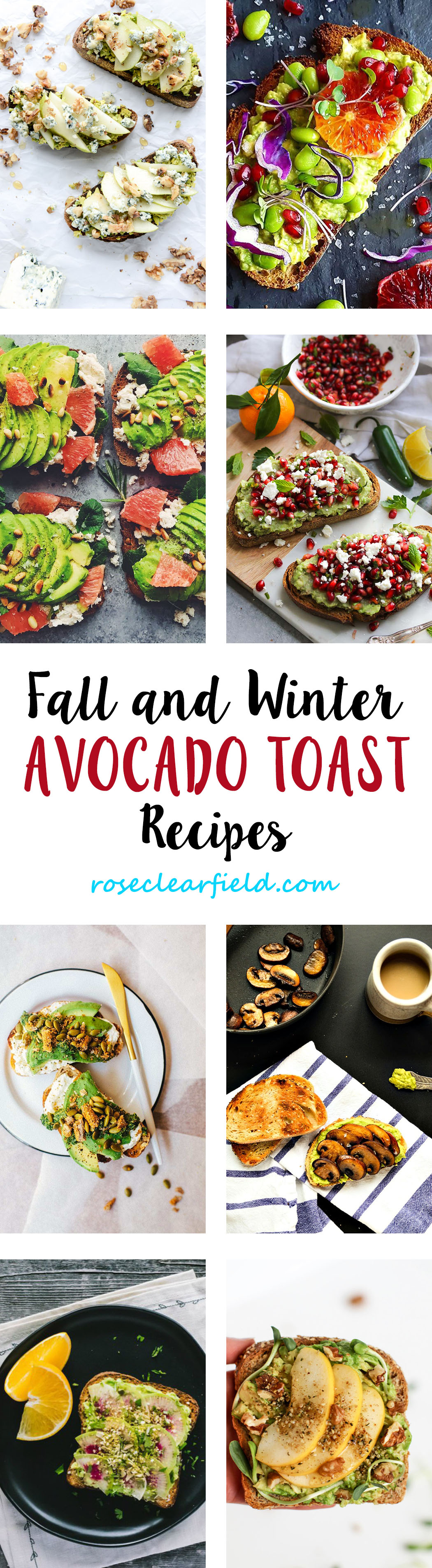 Fall and Winter Avocado Toast Recipes   https://www.roseclearfield.com