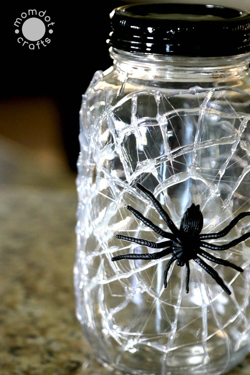 Spiderweb Mason Jars via Momdot Crafts
