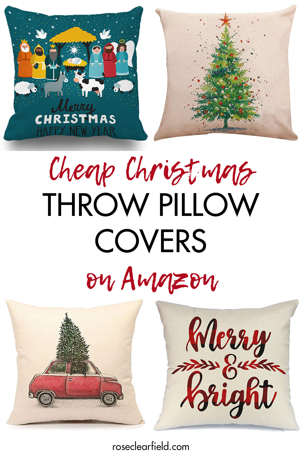 Cheap Christmas Throw Pillow Covers on Amazon • Rose Clearfield