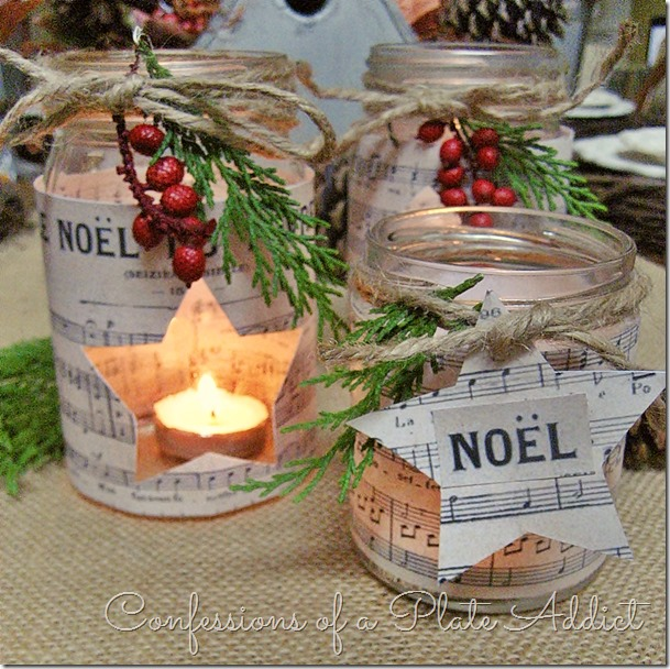DIY Christmas Mason Jar Decor - French Sheet Music Christmas Candles via Confessions of a Plate Addict | https://www.roseclearfield.com