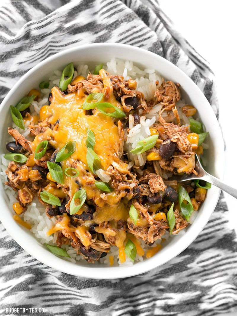 30 Days of Healthy Slow Cooker Dinner Recipes - Slow Cooker Taco Chicken Bowls via Budget Bytes | https://www.roseclearfield.com
