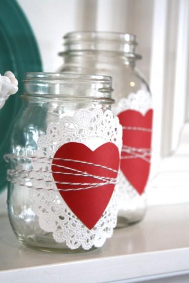 DIY Valentine's Day Mason Jar Decor - Doily Wrapped Heart Valentine's Day Mason Jars via The Pleated Poppy | https://www.roseclearfield.com