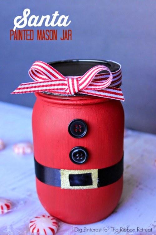 DIY Christmas Mason Jar Decor - Santa Painted Mason Jar via The Ribbon Retreat | https://www.roseclearfield.com