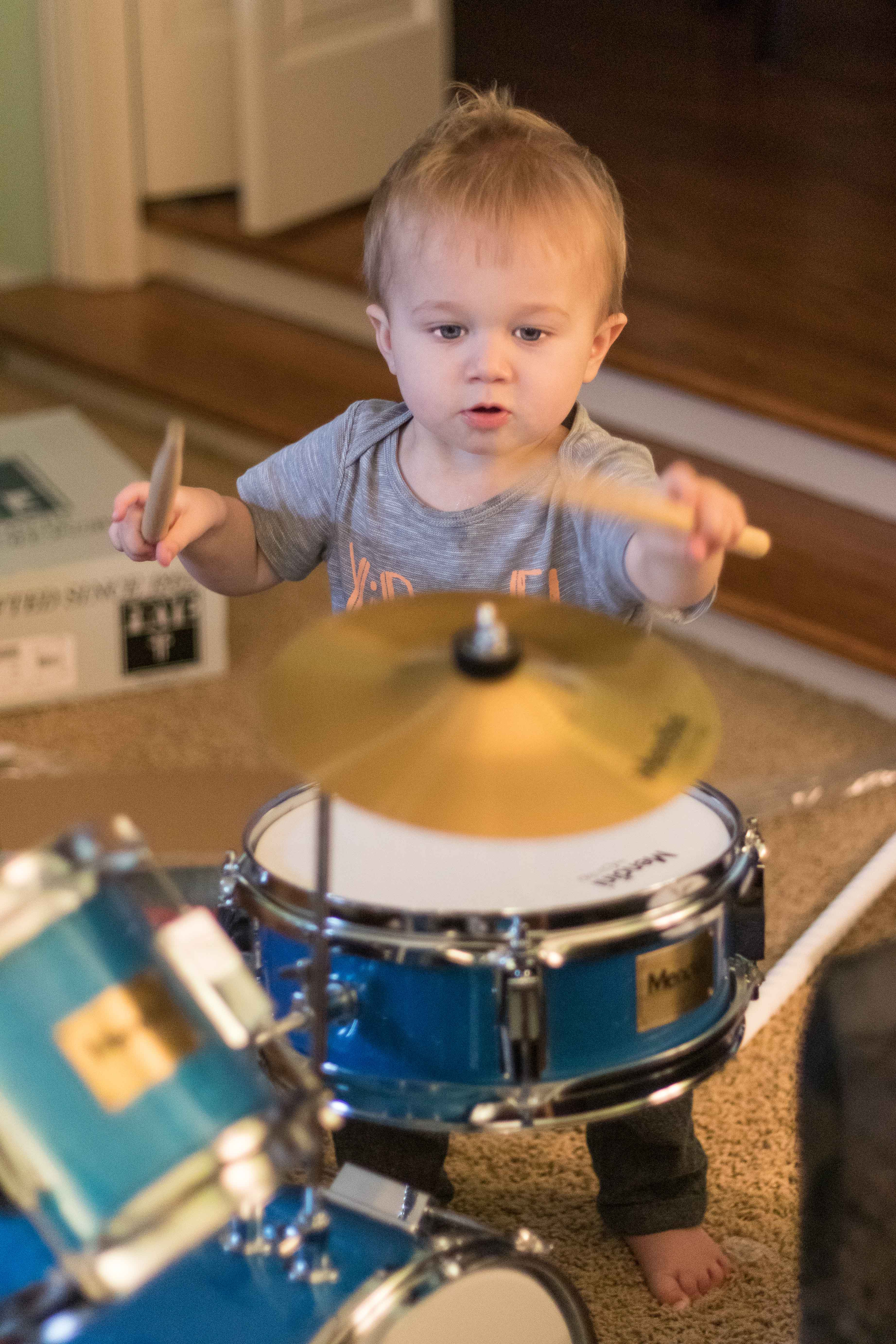 Tommy with His Drum Set | https://www.roseclearfield.com