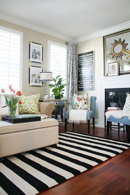 Stripes Inspiration - Black and White Striped Rug via A Thoughtful Place | https://www.roseclearfield.com