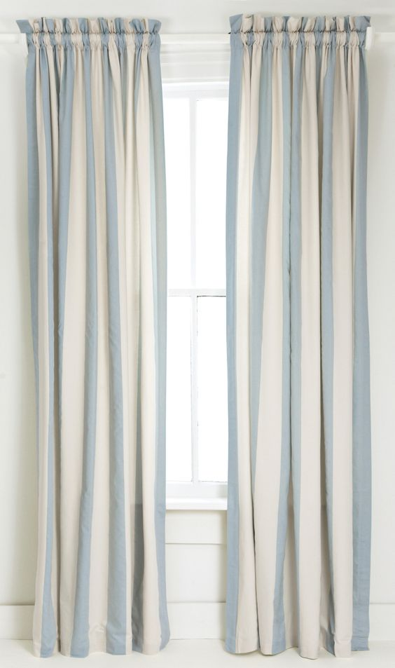 Stripes Inspiration - Blue and White Striped Curtains via Wayfair | https://www.roseclearfield.com