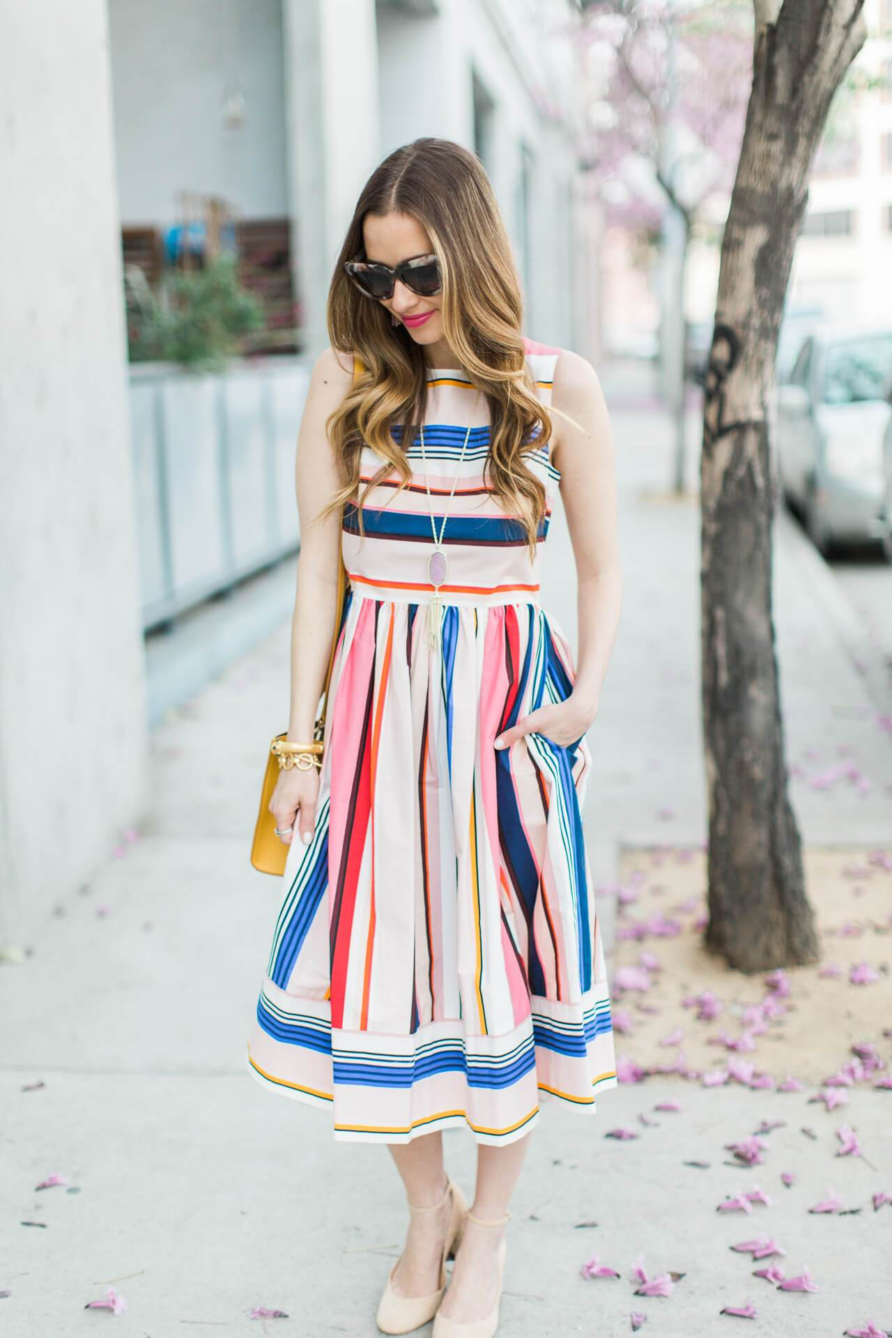 Stripes Inspiration - Kate Spade Colorful Striped Dress for Spring via M Loves M | https://www.roseclearfield.com