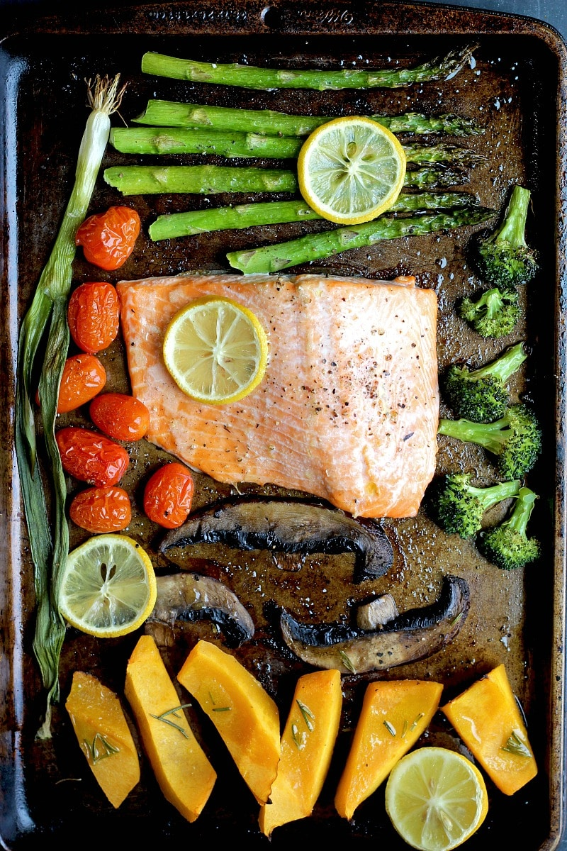 Healthy Dinner Recipes for Two - Sheet Pan Dinner for Two Salmon and Veggies via Garden in the Kitchen | https://www.roseclearfield.com