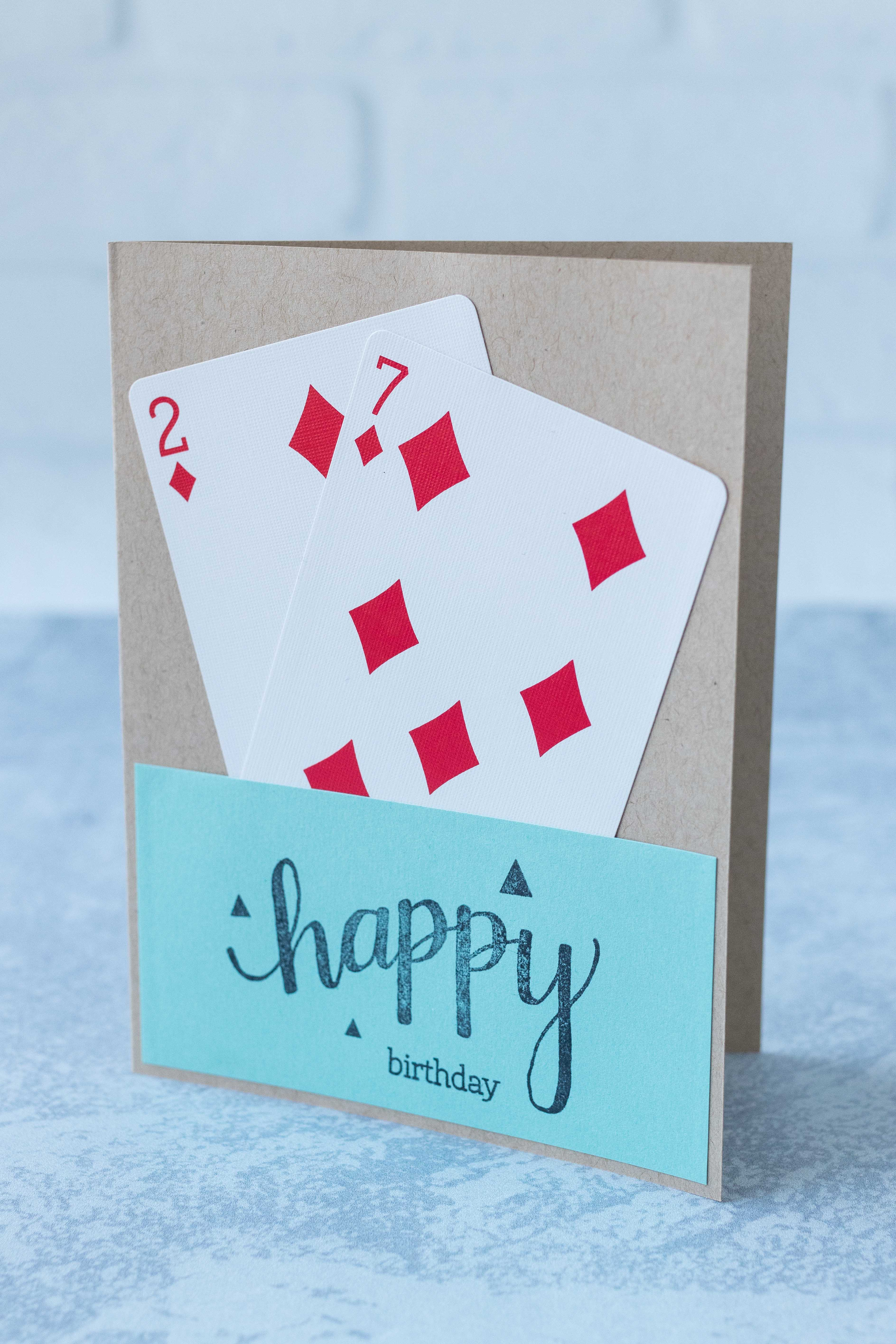 Homemade birthday card with playing card numbers for the age of the card recipient. #birthdaycard #playingcards #greetingcardinspiration | https://www.roseclearfield.com