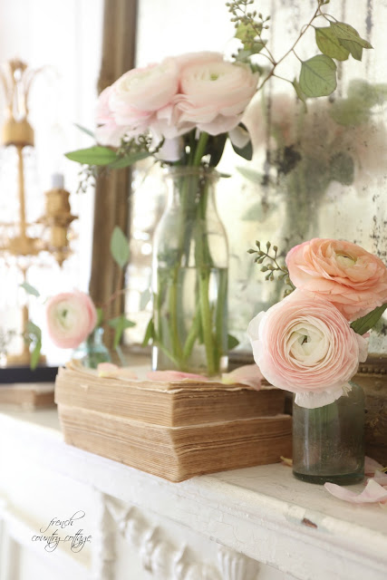 Spring Mantel Inspiration - Blushing Beauty via French Country Cottage | https://www.roseclearfield.com