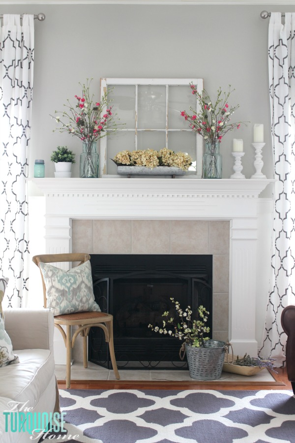 Spring Mantel Inspiration - Farmhouse Spring Decor via The Turquoise Home | https://www.roseclearfield.com