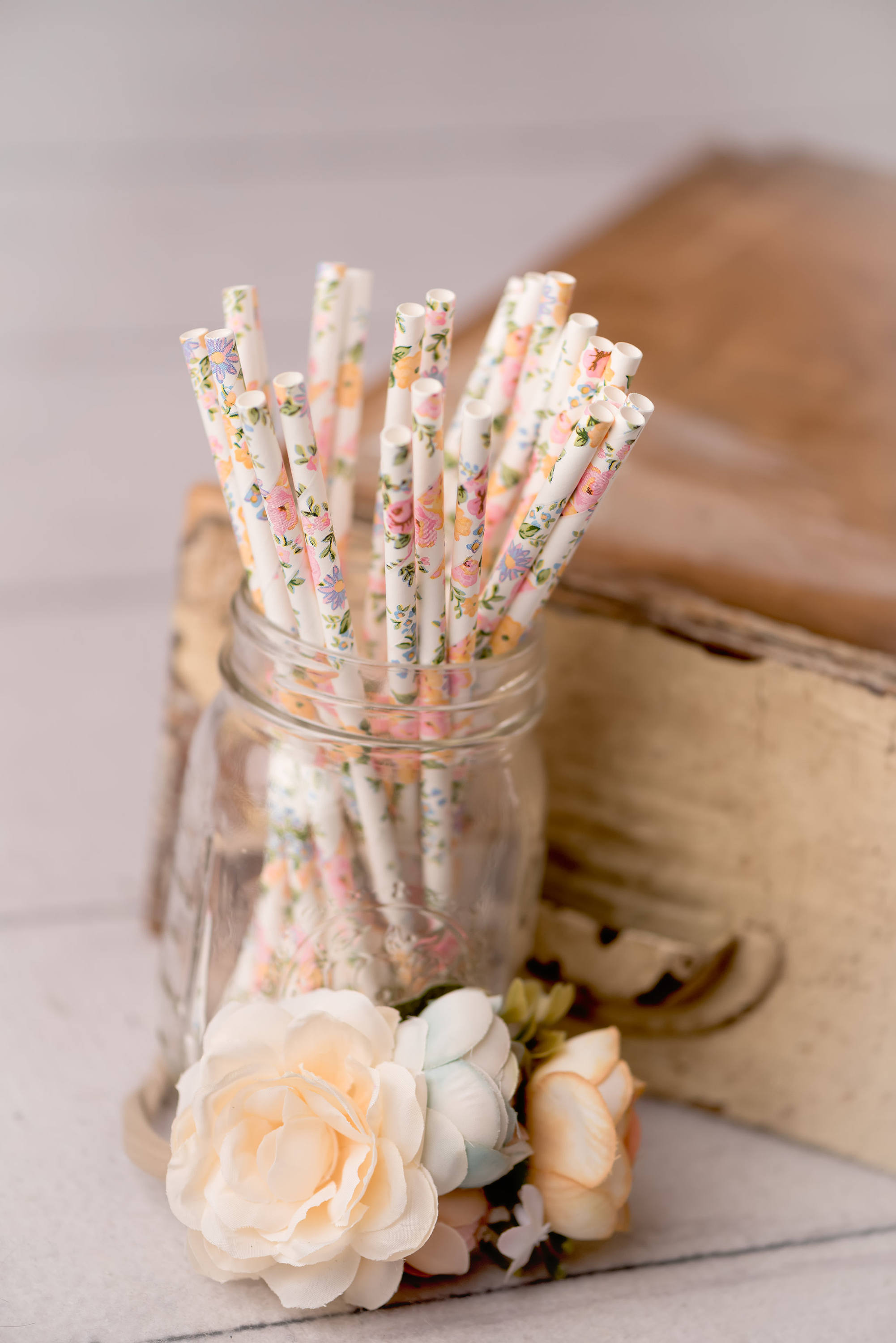 Little floral details, such as floral paper straws, pull the floral theme together at a baby shower or wedding, via dearestjane on Etsy. #floral #floraltheme #babyshower | https://www.roseclearfield.com