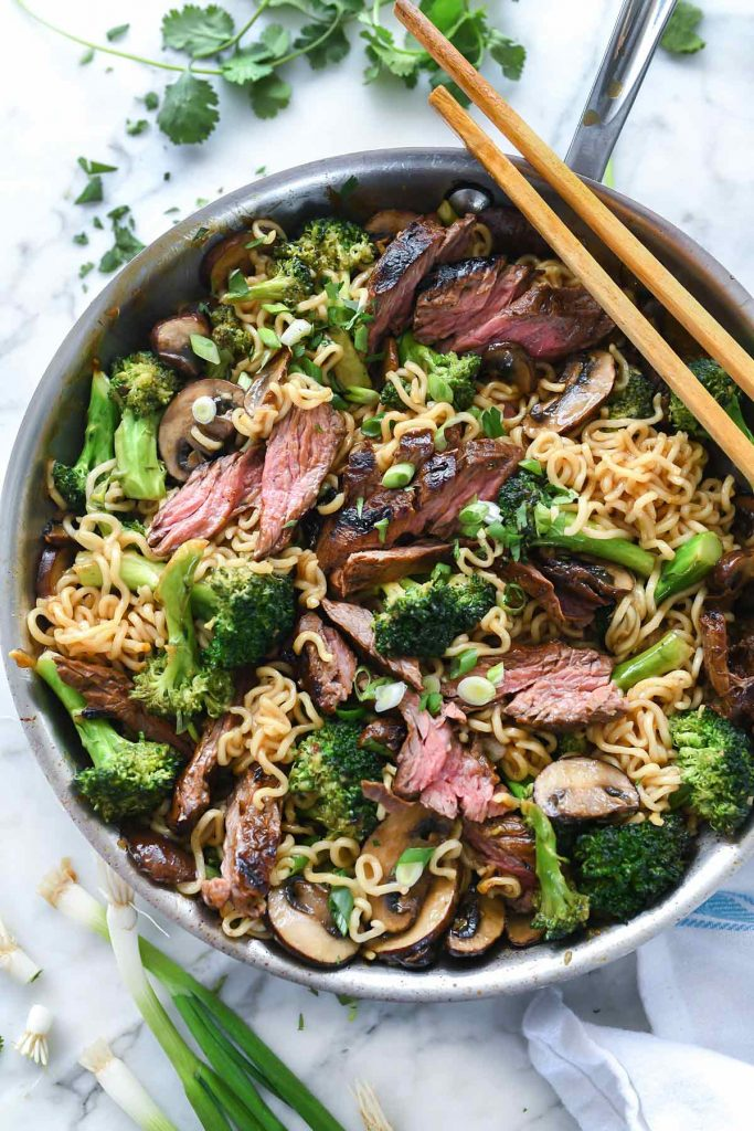 30 Healthy Ramen Noodle Recipes - Ramen Noodles With Marinated Steak and Broccoli via Foodiecrush | https://www.roseclearfield.com
