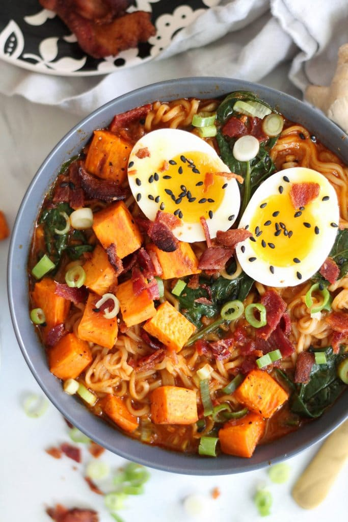 30 Healthy Ramen Noodle Recipes - Roasted Sweet Potato Bacon Red Curry Ramen via Spices in My DNA | https://www.roseclearfield.com