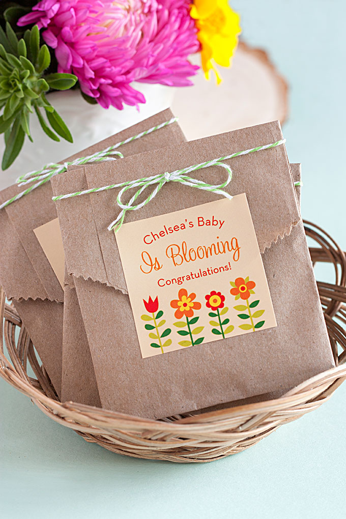 Seed packet favors for a baby shower, via Evermine. #babyshower #showerfavor #seedpacketfavor | https://www.roseclearfield.com