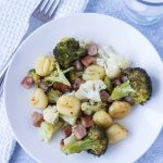 Get dinner on the table in 30 minutes with sheet pan gnocchi with chicken sausage and vegetables! #familyfriendly #healthyeating #sheetpanmeal | https://www.roseclearfield.com