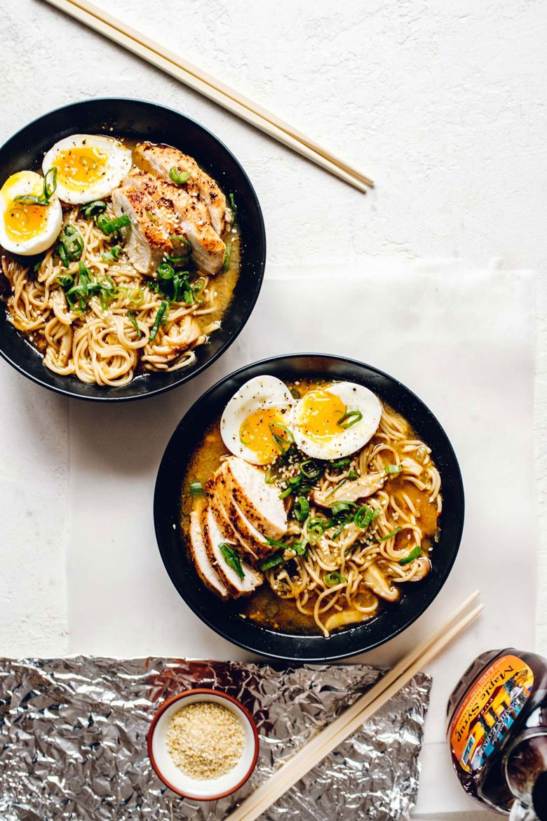 30 Healthy Ramen Noodle Recipes - Spicy Maple Miso Chicken Ramen via Brewing Happiness | https://www.roseclearfield.com