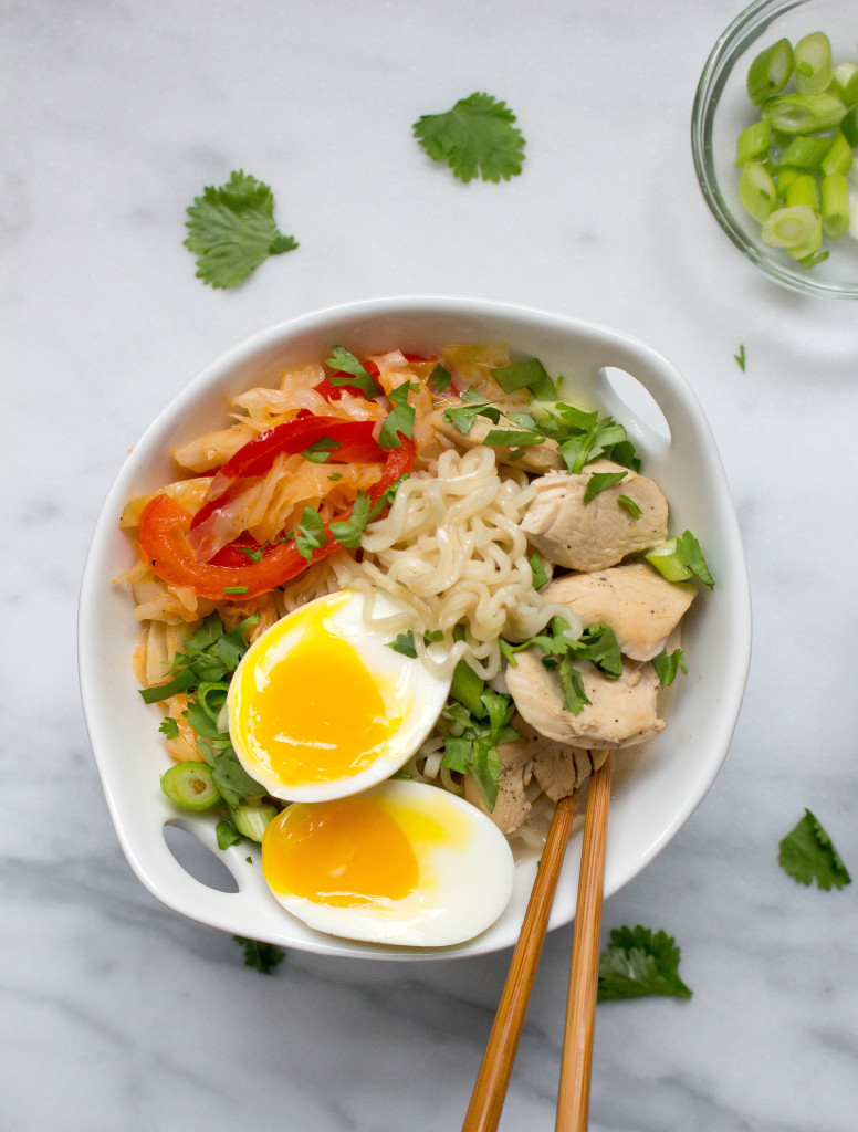 30 Healthy Ramen Noodle Recipes - Spicy Thai Coconut Ramen with Chicken and Cabbage via Yes to Yolks | https://www.roseclearfield.com