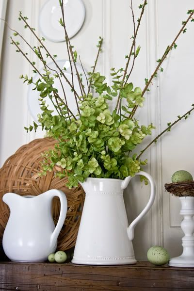 Spring Mantel Inspiration - Spring Greenery via The Lettered Cottage | https://www.roseclearfield.com