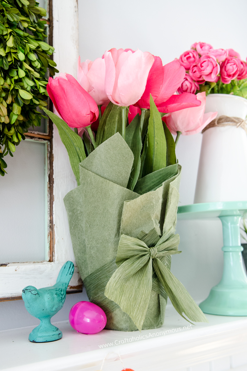Spring Mantel Inspiration - Spring Mantel via Craftaholics Anonymous | https://www.roseclearfield.com