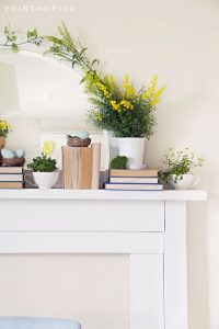 Spring Mantel Inspiration - Spring Mantel via Paint Me Pink | https://www.roseclearfield.com